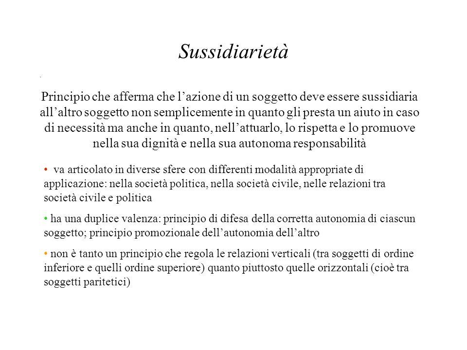 Sussidiarietà. Principio che afferma che lazione di un soggetto deve essere sussidiaria allaltro soggetto non semplicemente in quanto gli presta un ai