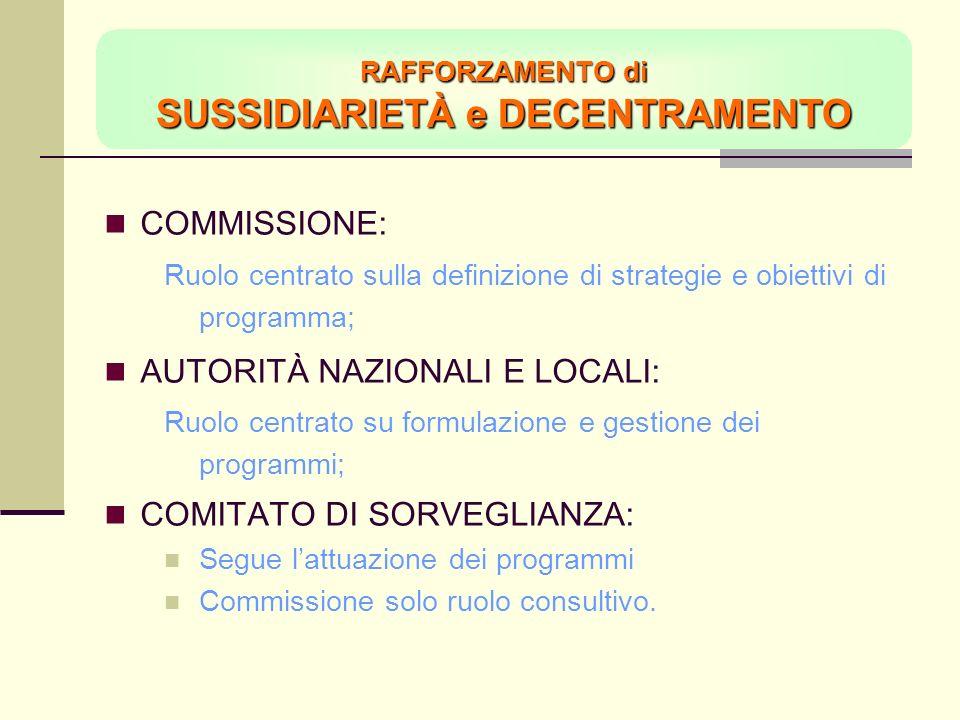 RAFFORZAMENTO di SUSSIDIARIETÀ e DECENTRAMENTO COMMISSIONE: Ruolo centrato sulla definizione di strategie e obiettivi di programma; AUTORITÀ NAZIONALI