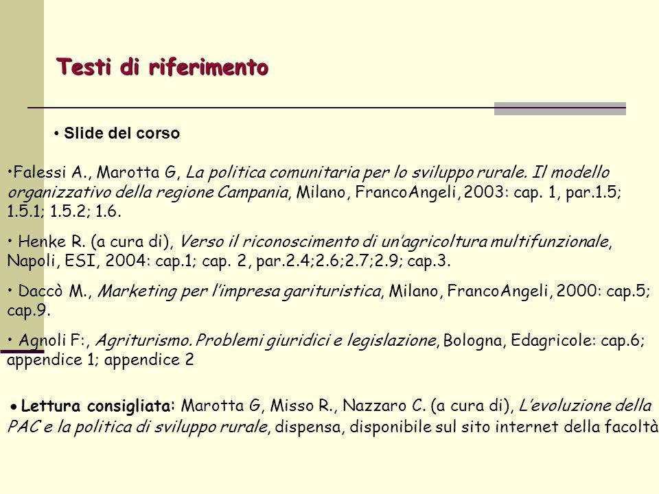 Falessi A., Marotta G, La politica comunitaria per lo sviluppo rurale. Il modello organizzativo della regione Campania, Milano, FrancoAngeli, 2003: ca