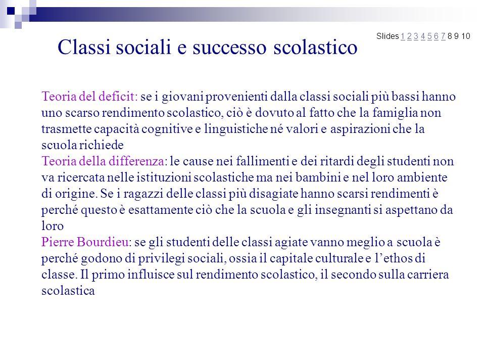 Classi sociali e successo scolastico Teoria del deficit: se i giovani provenienti dalla classi sociali più bassi hanno uno scarso rendimento scolastic