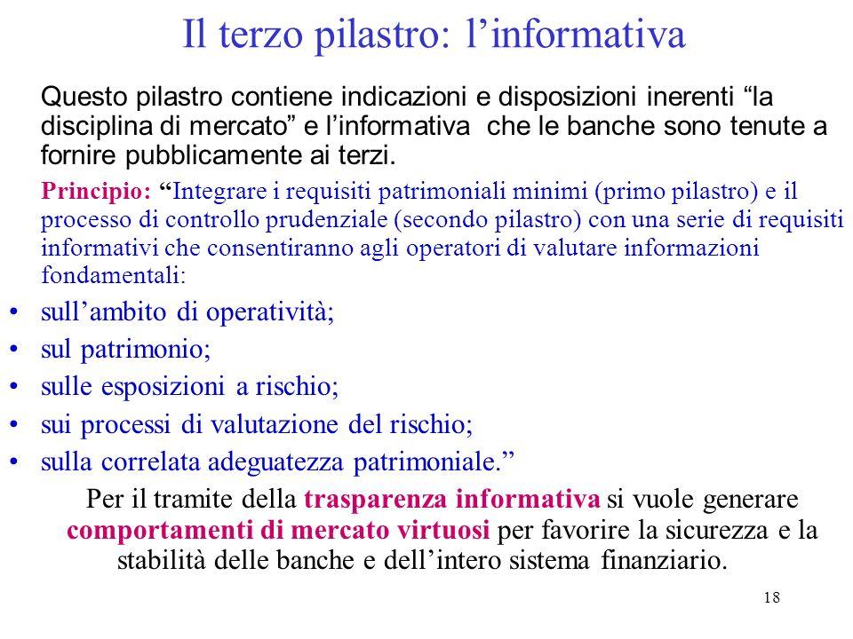 17 Terzo pilastro: disciplina di mercato Linformativa deve rispecchiare leffettivo profilo di rischio dellistituzione bancaria Comunicare al mercato,