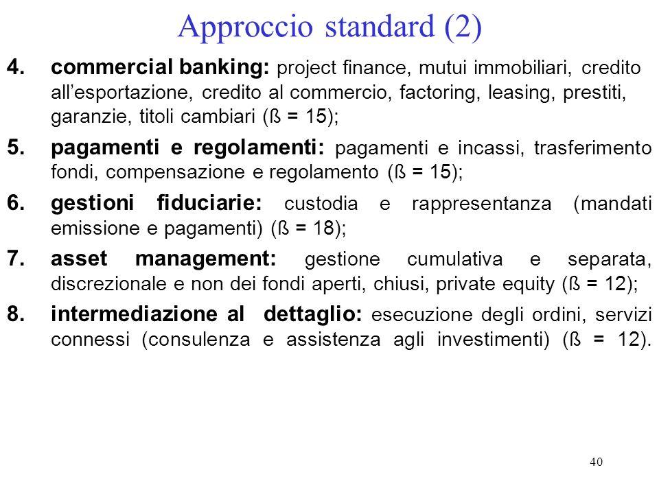 39 Approccio standard Lattività aziendale va ripartita nelle seguenti otto linee operative: 1.corporate finance, fusioni e acquisizioni (M&A), sottosc