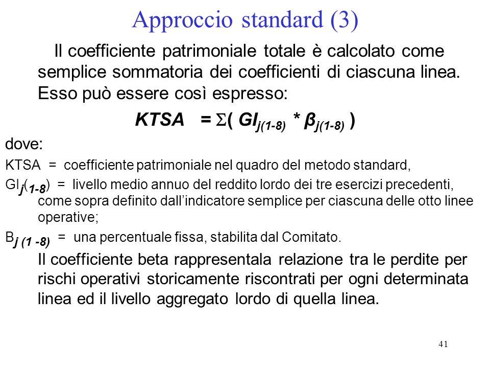 40 Approccio standard (2) 4.commercial banking: project finance, mutui immobiliari, credito allesportazione, credito al commercio, factoring, leasing,