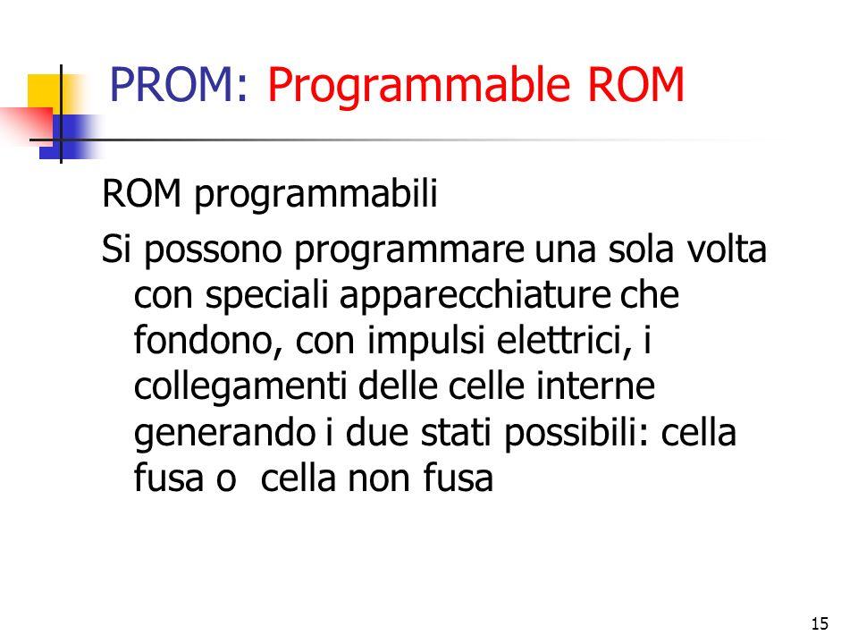 15 PROM: Programmable ROM ROM programmabili Si possono programmare una sola volta con speciali apparecchiature che fondono, con impulsi elettrici, i c