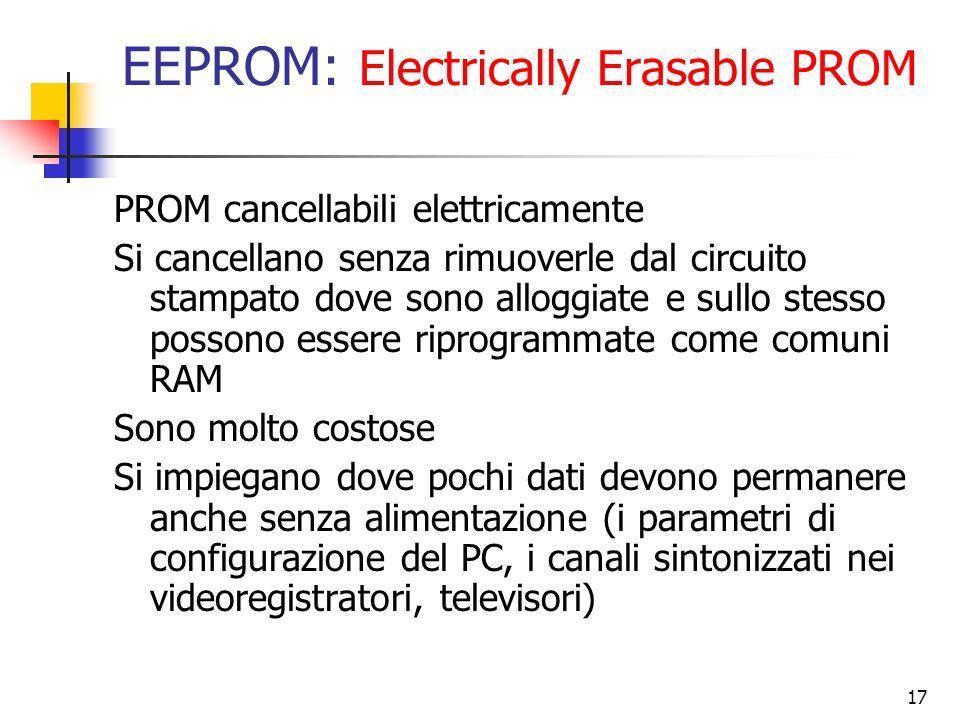 17 EEPROM: Electrically Erasable PROM PROM cancellabili elettricamente Si cancellano senza rimuoverle dal circuito stampato dove sono alloggiate e sul