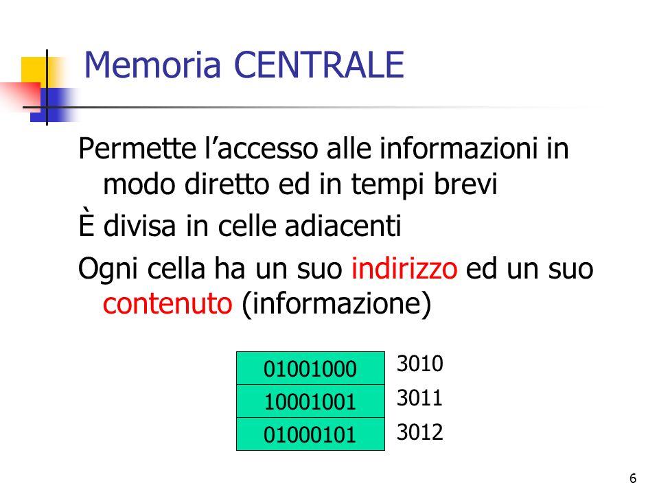 6 Memoria CENTRALE Permette laccesso alle informazioni in modo diretto ed in tempi brevi È divisa in celle adiacenti Ogni cella ha un suo indirizzo ed