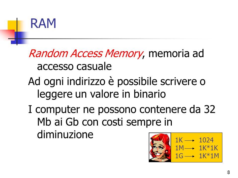 8 RAM Random Access Memory, memoria ad accesso casuale Ad ogni indirizzo è possibile scrivere o leggere un valore in binario I computer ne possono con