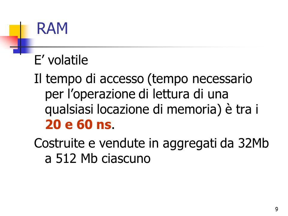 9 RAM E volatile Il tempo di accesso (tempo necessario per loperazione di lettura di una qualsiasi locazione di memoria) è tra i 20 e 60 ns. Costruite
