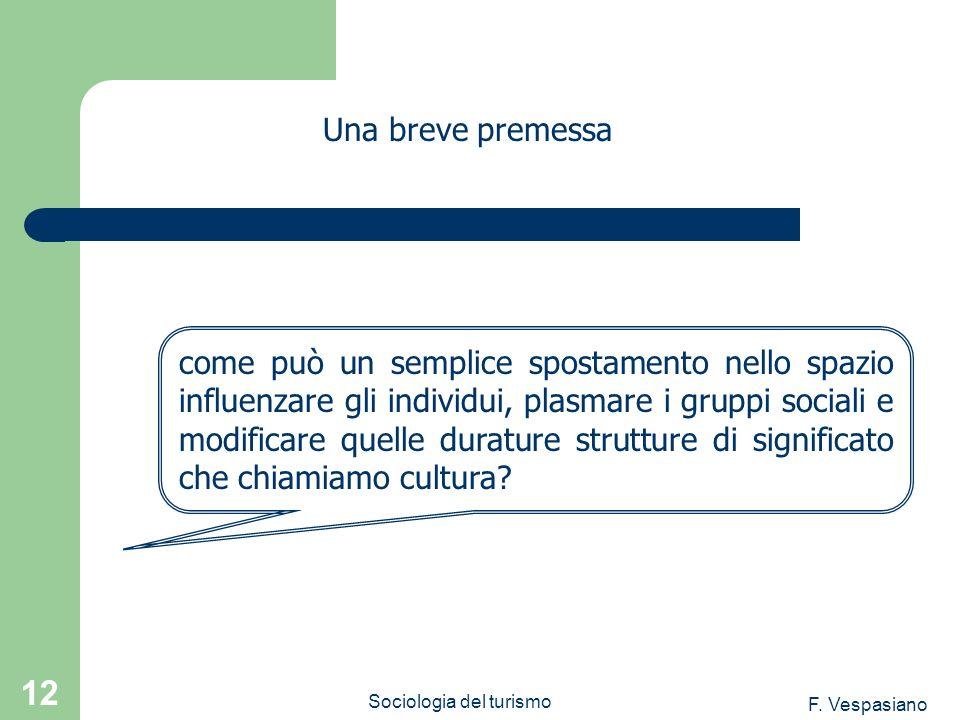 F. Vespasiano Sociologia del turismo 12 Una breve premessa come può un semplice spostamento nello spazio influenzare gli individui, plasmare i gruppi