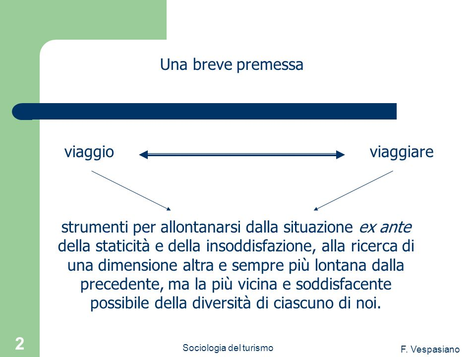 F. Vespasiano Sociologia del turismo 2 strumenti per allontanarsi dalla situazione ex ante della staticità e della insoddisfazione, alla ricerca di un