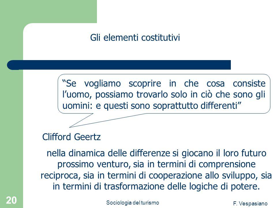 F. Vespasiano Sociologia del turismo 20 nella dinamica delle differenze si giocano il loro futuro prossimo venturo, sia in termini di comprensione rec