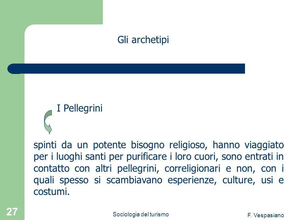 F. Vespasiano Sociologia del turismo 27 spinti da un potente bisogno religioso, hanno viaggiato per i luoghi santi per purificare i loro cuori, sono e