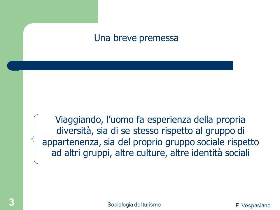 F. Vespasiano Sociologia del turismo 3 Viaggiando, luomo fa esperienza della propria diversità, sia di se stesso rispetto al gruppo di appartenenza, s