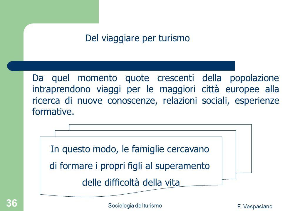 F. Vespasiano Sociologia del turismo 36 Da quel momento quote crescenti della popolazione intraprendono viaggi per le maggiori città europee alla rice