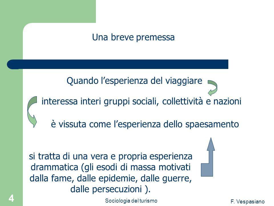 F. Vespasiano Sociologia del turismo 4 è vissuta come lesperienza dello spaesamento Una breve premessa Quando lesperienza del viaggiare interessa inte