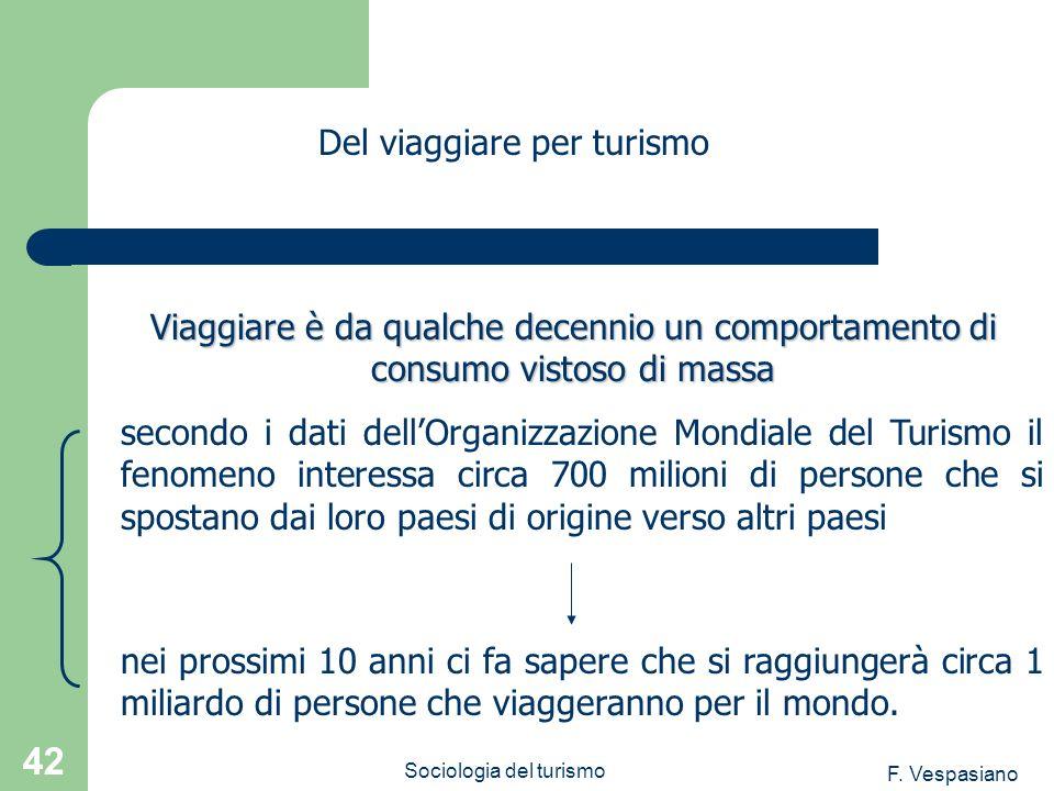 F. Vespasiano Sociologia del turismo 42 secondo i dati dellOrganizzazione Mondiale del Turismo il fenomeno interessa circa 700 milioni di persone che