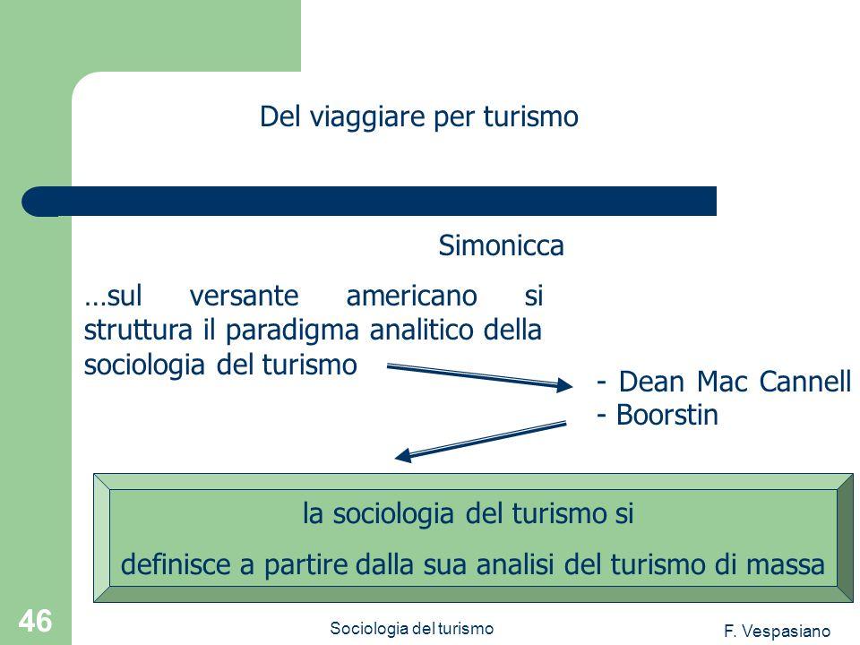 F. Vespasiano Sociologia del turismo 46 …sul versante americano si struttura il paradigma analitico della sociologia del turismo Del viaggiare per tur