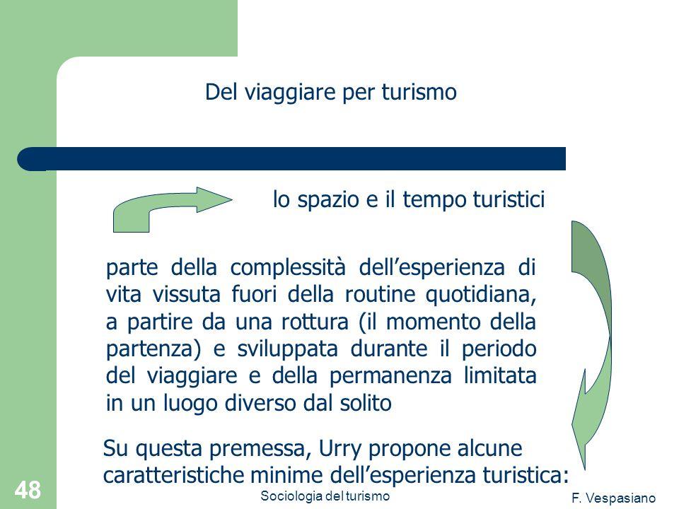 F. Vespasiano Sociologia del turismo 48 parte della complessità dellesperienza di vita vissuta fuori della routine quotidiana, a partire da una rottur