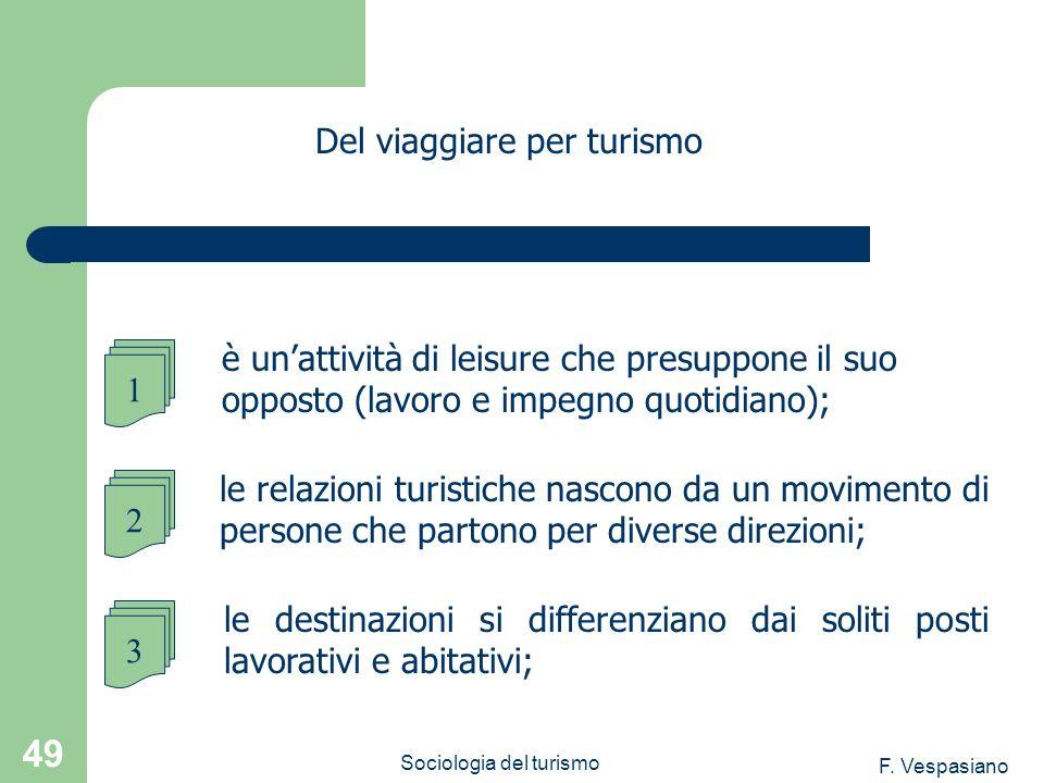 F. Vespasiano Sociologia del turismo 49 le destinazioni si differenziano dai soliti posti lavorativi e abitativi; Del viaggiare per turismo 1 è unatti