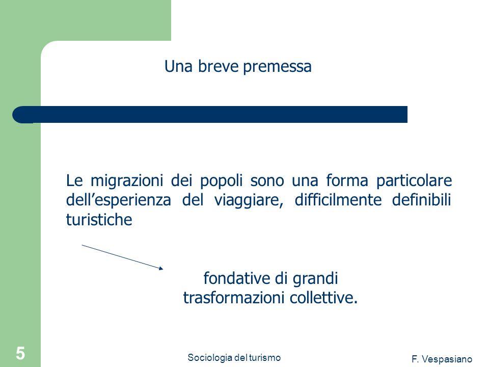 F. Vespasiano Sociologia del turismo 5 Le migrazioni dei popoli sono una forma particolare dellesperienza del viaggiare, difficilmente definibili turi