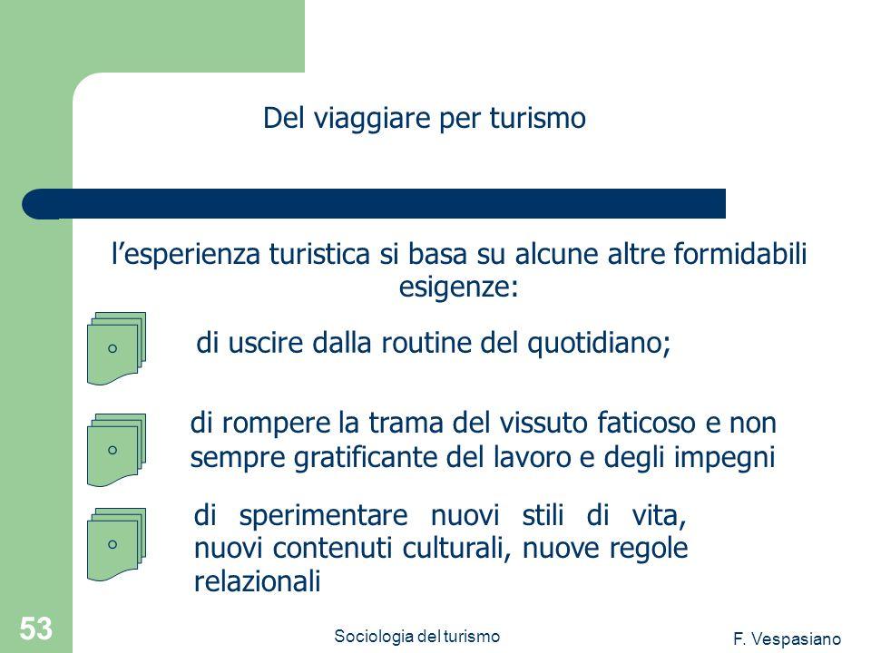 F. Vespasiano Sociologia del turismo 53 lesperienza turistica si basa su alcune altre formidabili esigenze: Del viaggiare per turismo di sperimentare