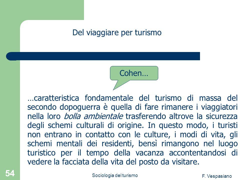 F. Vespasiano Sociologia del turismo 54 …caratteristica fondamentale del turismo di massa del secondo dopoguerra è quella di fare rimanere i viaggiato