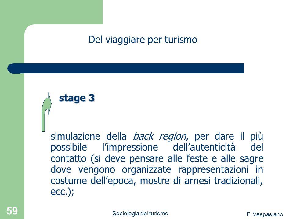 F. Vespasiano Sociologia del turismo 59 simulazione della back region, per dare il più possibile limpressione dellautenticità del contatto (si deve pe