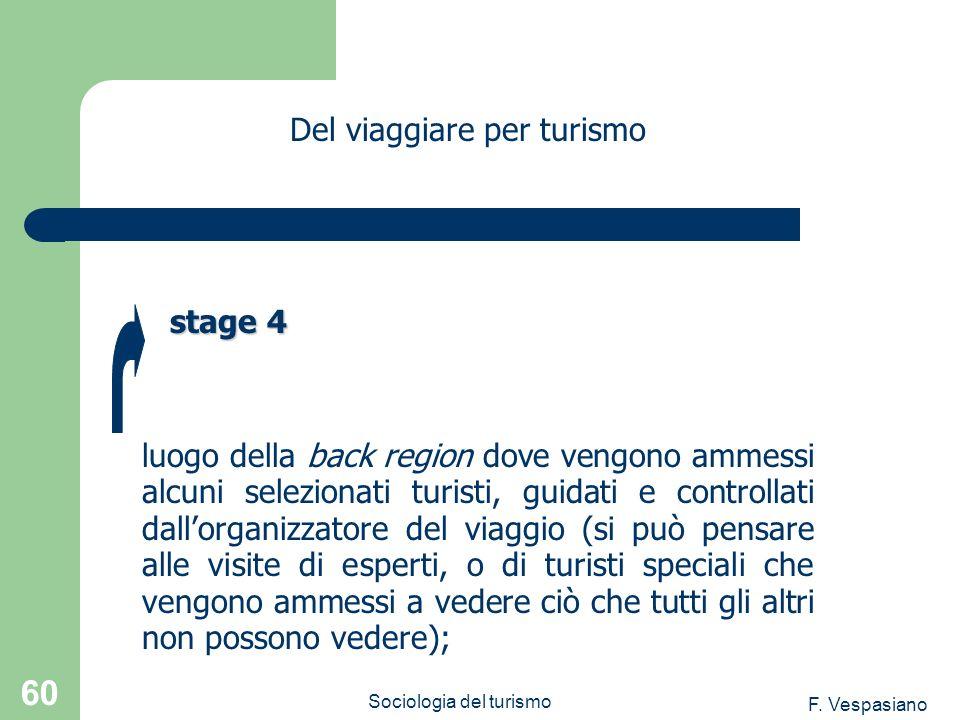 F. Vespasiano Sociologia del turismo 60 luogo della back region dove vengono ammessi alcuni selezionati turisti, guidati e controllati dallorganizzato