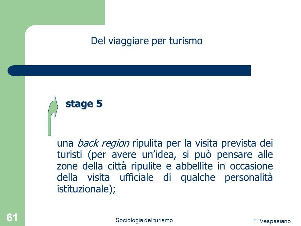 F. Vespasiano Sociologia del turismo 61 una back region ripulita per la visita prevista dei turisti (per avere unidea, si può pensare alle zone della