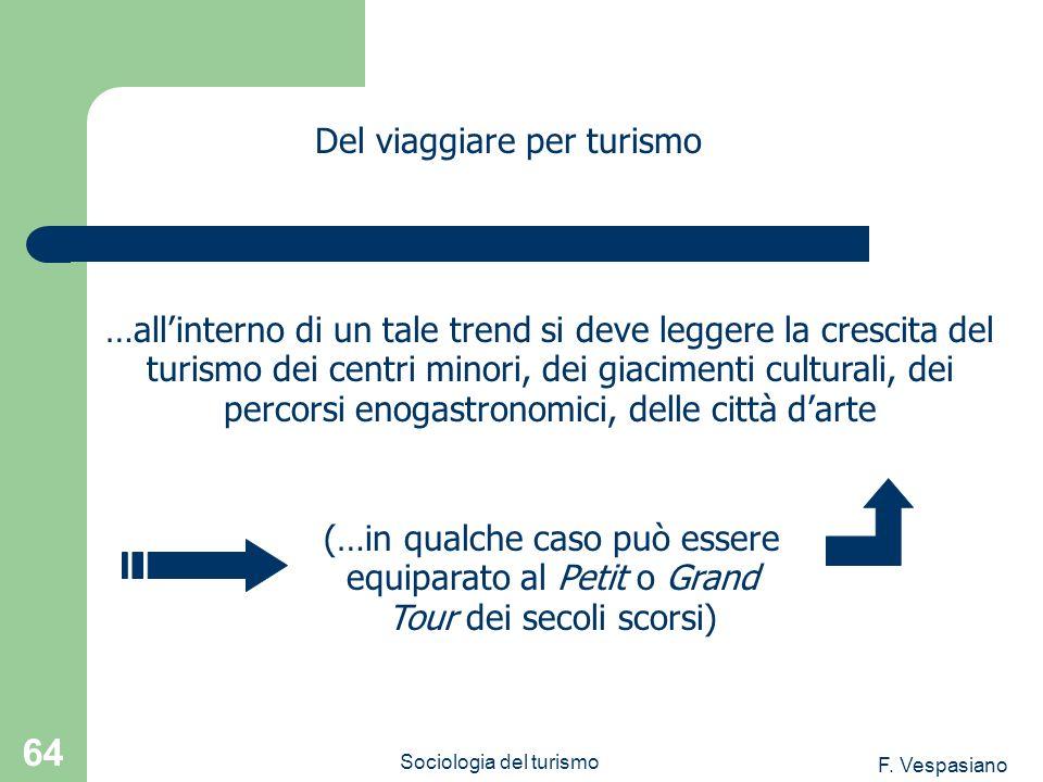 F. Vespasiano Sociologia del turismo 64 …allinterno di un tale trend si deve leggere la crescita del turismo dei centri minori, dei giacimenti cultura