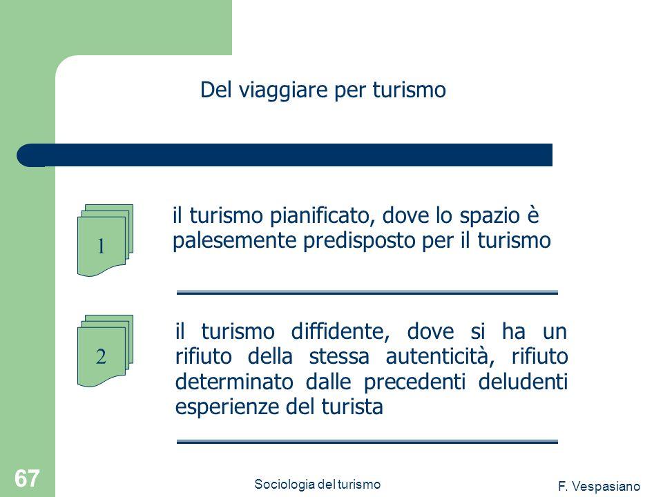 F. Vespasiano Sociologia del turismo 67 il turismo diffidente, dove si ha un rifiuto della stessa autenticità, rifiuto determinato dalle precedenti de
