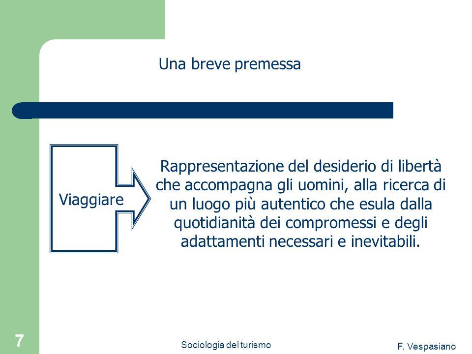 F. Vespasiano Sociologia del turismo 7 Una breve premessa Rappresentazione del desiderio di libertà che accompagna gli uomini, alla ricerca di un luog