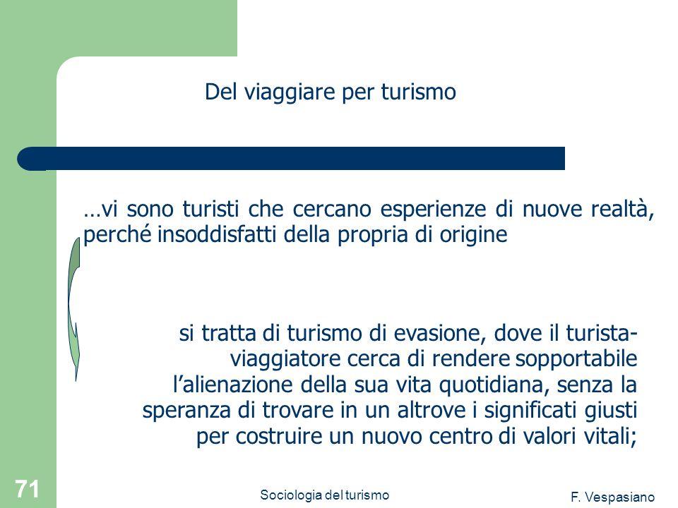 F. Vespasiano Sociologia del turismo 71 …vi sono turisti che cercano esperienze di nuove realtà, perché insoddisfatti della propria di origine Del via
