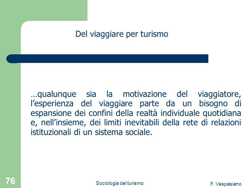 F. Vespasiano Sociologia del turismo 76 …qualunque sia la motivazione del viaggiatore, lesperienza del viaggiare parte da un bisogno di espansione dei