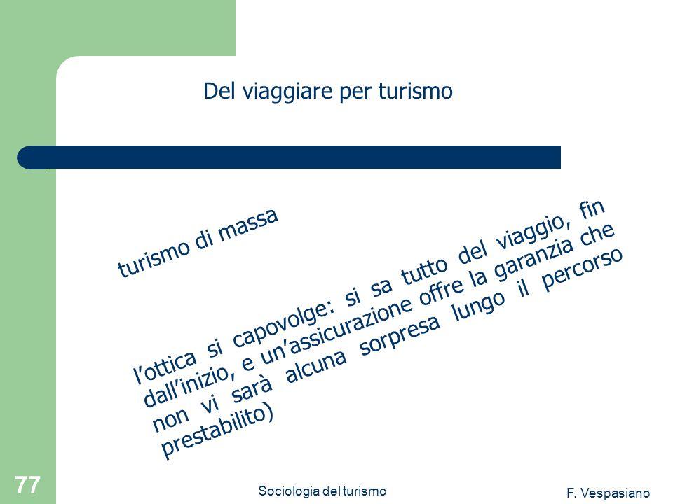 F. Vespasiano Sociologia del turismo 77 lottica si capovolge: si sa tutto del viaggio, fin dallinizio, e unassicurazione offre la garanzia che non vi