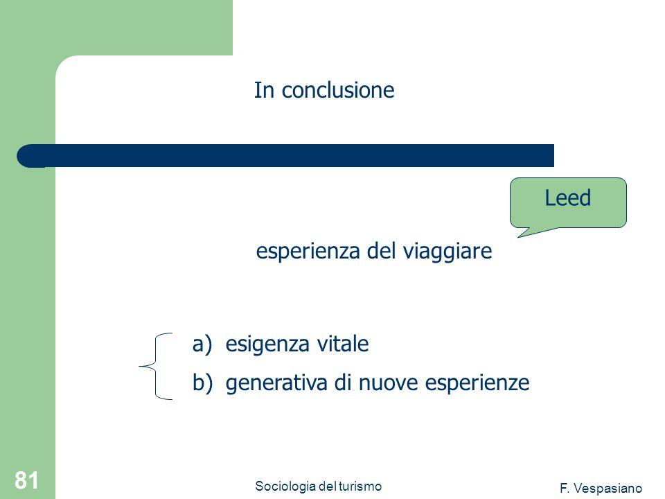 F. Vespasiano Sociologia del turismo 81 a)esigenza vitale b)generativa di nuove esperienze In conclusione esperienza del viaggiare Leed