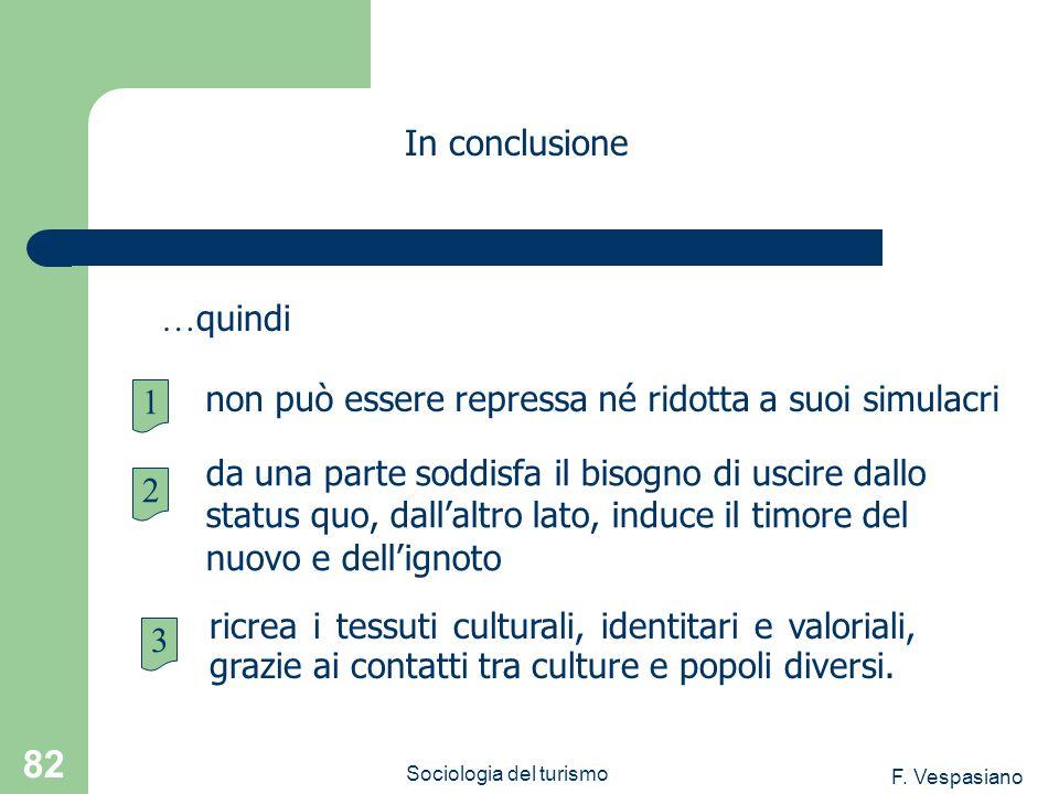 F. Vespasiano Sociologia del turismo 82 ricrea i tessuti culturali, identitari e valoriali, grazie ai contatti tra culture e popoli diversi. In conclu