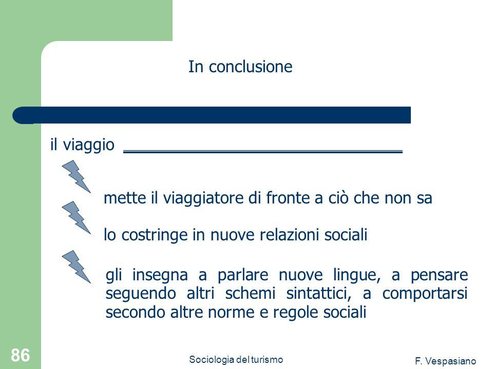 F. Vespasiano Sociologia del turismo 86 gli insegna a parlare nuove lingue, a pensare seguendo altri schemi sintattici, a comportarsi secondo altre no