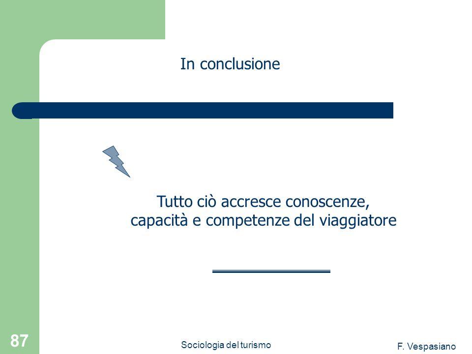 F. Vespasiano Sociologia del turismo 87 In conclusione Tutto ciò accresce conoscenze, capacità e competenze del viaggiatore