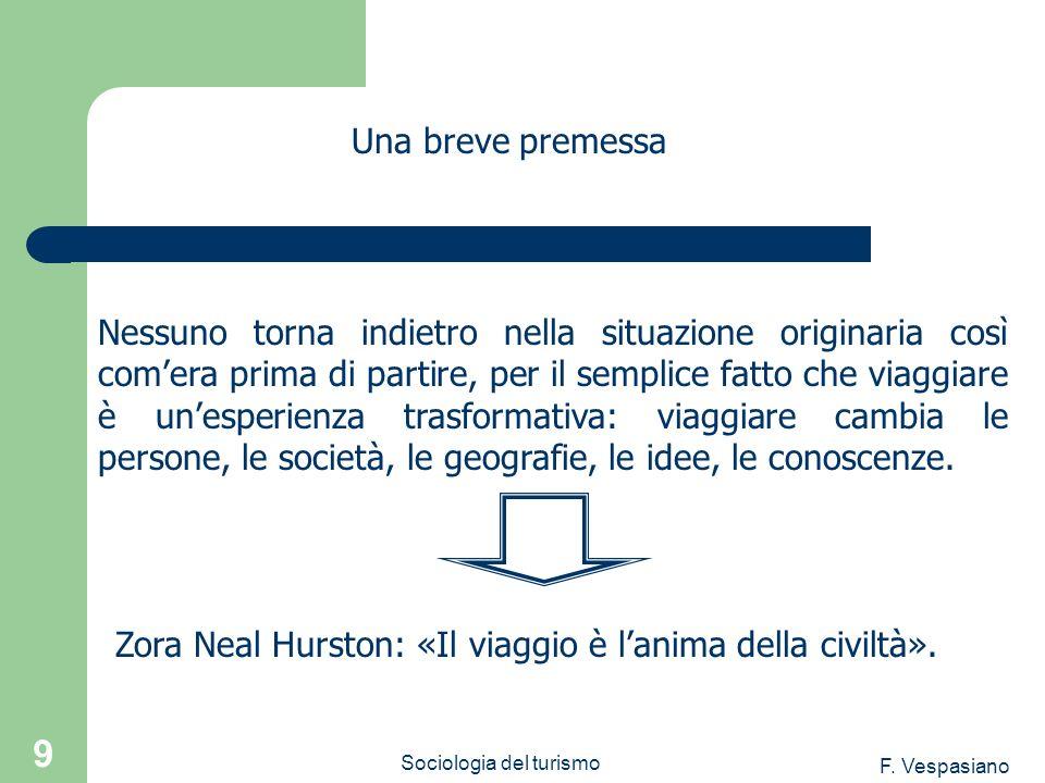 F. Vespasiano Sociologia del turismo 9 Nessuno torna indietro nella situazione originaria così comera prima di partire, per il semplice fatto che viag