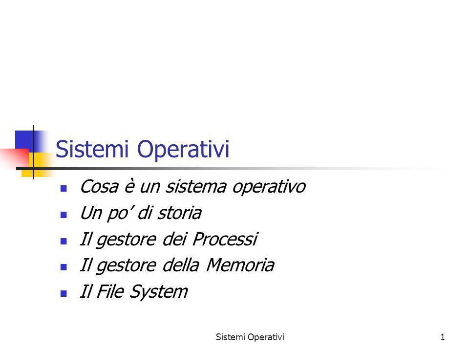 Sistemi Operativi1 Cosa è un sistema operativo Un po di storia Il gestore dei Processi Il gestore della Memoria Il File System