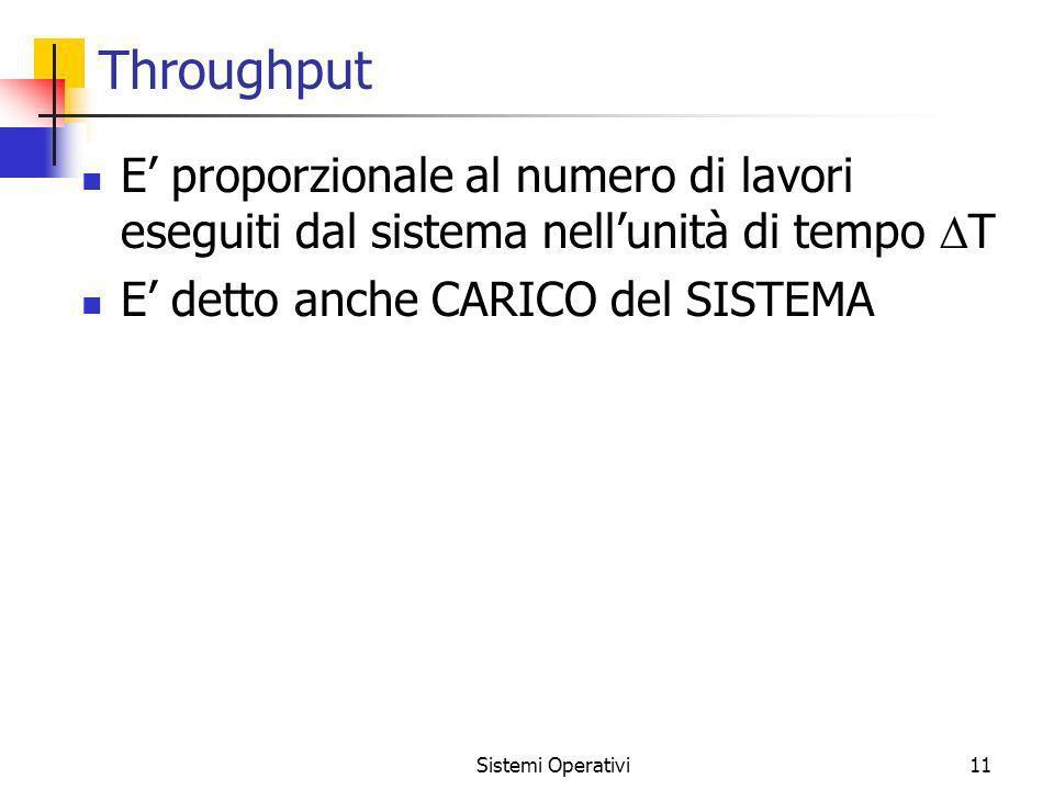 Sistemi Operativi11 Throughput E proporzionale al numero di lavori eseguiti dal sistema nellunità di tempo T E detto anche CARICO del SISTEMA