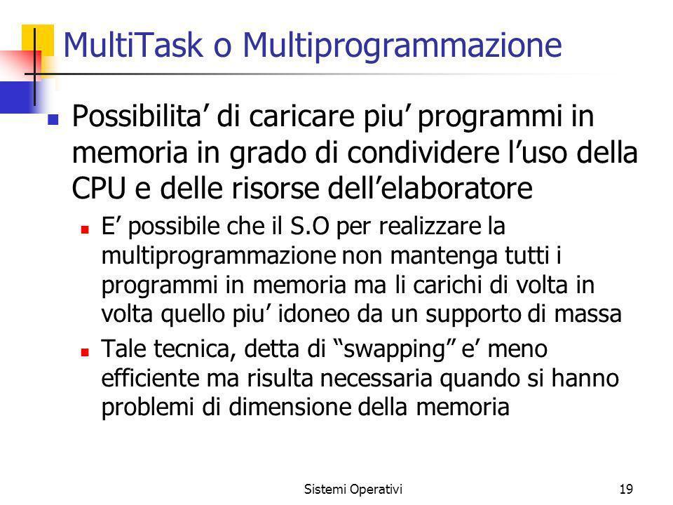 Sistemi Operativi19 MultiTask o Multiprogrammazione Possibilita di caricare piu programmi in memoria in grado di condividere luso della CPU e delle ri