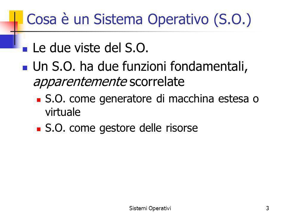 Sistemi Operativi3 Cosa è un Sistema Operativo (S.O.) Le due viste del S.O. Un S.O. ha due funzioni fondamentali, apparentemente scorrelate S.O. come