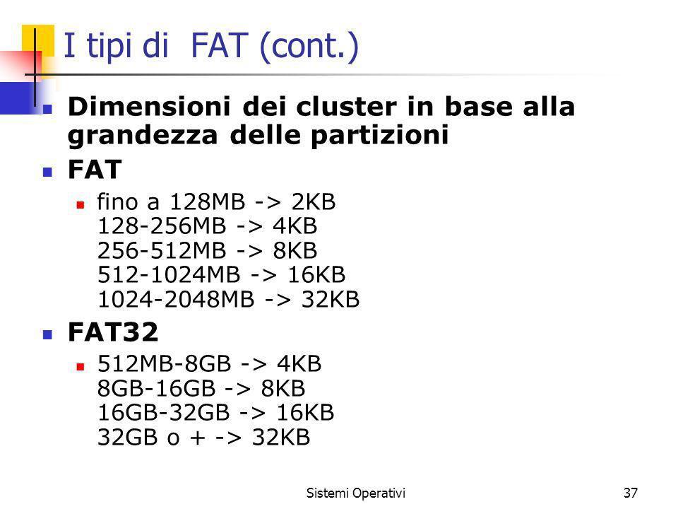 Sistemi Operativi37 I tipi di FAT (cont.) Dimensioni dei cluster in base alla grandezza delle partizioni FAT fino a 128MB -> 2KB 128-256MB -> 4KB 256-