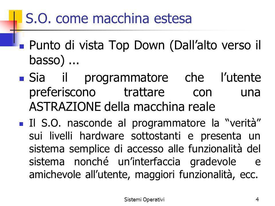 Sistemi Operativi4 S.O. come macchina estesa Punto di vista Top Down (Dallalto verso il basso)... Sia il programmatore che lutente preferiscono tratta