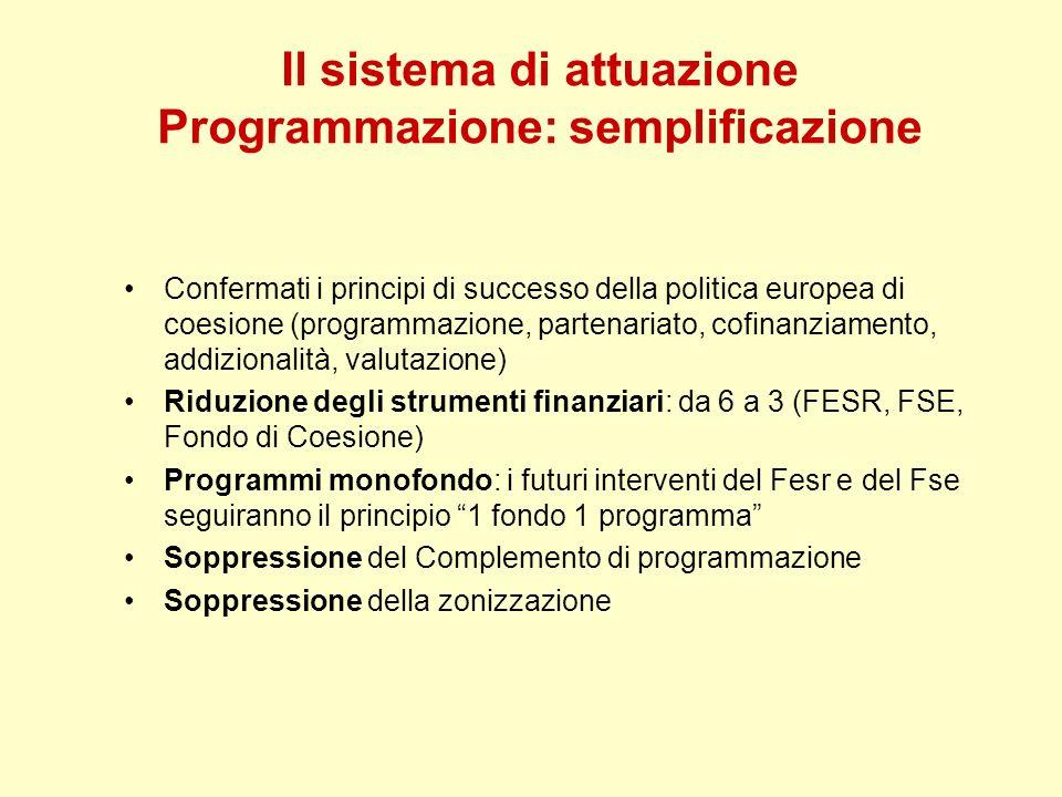 Il sistema di attuazione Programmazione: semplificazione Confermati i principi di successo della politica europea di coesione (programmazione, partena