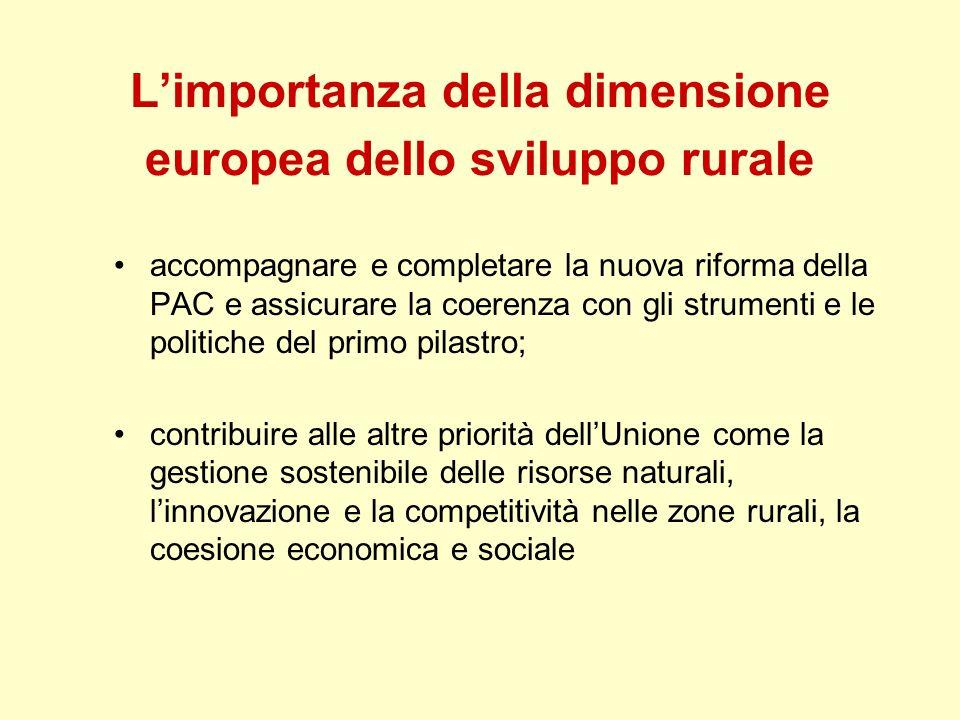 Limportanza della dimensione europea dello sviluppo rurale accompagnare e completare la nuova riforma della PAC e assicurare la coerenza con gli strum