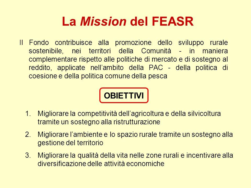 La Mission del FEASR Il Fondo contribuisce alla promozione dello sviluppo rurale sostenibile, nei territori della Comunità - in maniera complementare
