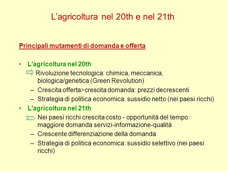 Lagricoltura nel 20th e nel 21th Principali mutamenti di domanda e offerta L'agricoltura nel 20th Rivoluzione tecnologica: chimica, meccanica, biologi